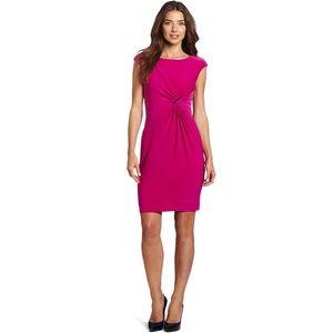 🥀 Fuchsia Ruched Enamel Pin Stretch Knit Dress 🥀